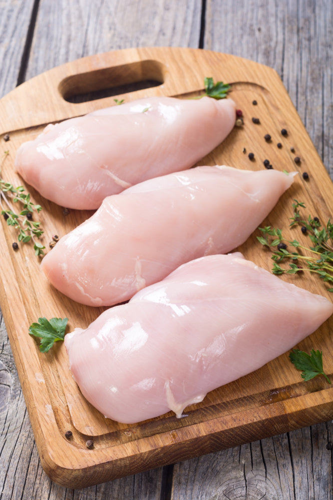 Chicken - Chicken Breasts, 8-10oz boneless skinless Ontario air-chilled, packed by 2, 7 packs in 9lb box