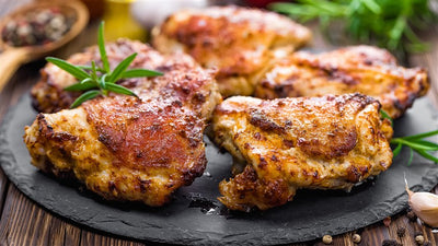 Chicken - Chicken Thighs, Bone-in Skin on, Ontario Air-chilled, 4 per 1lb pack, 9lb box
