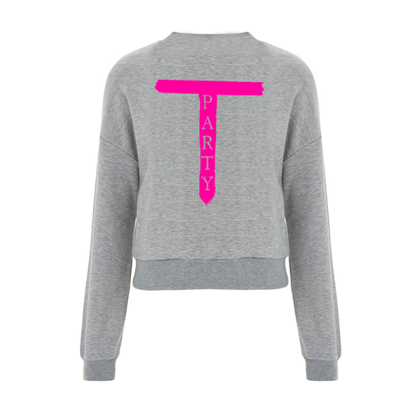 'T-Party' Ladies Grey Cropped Jumper