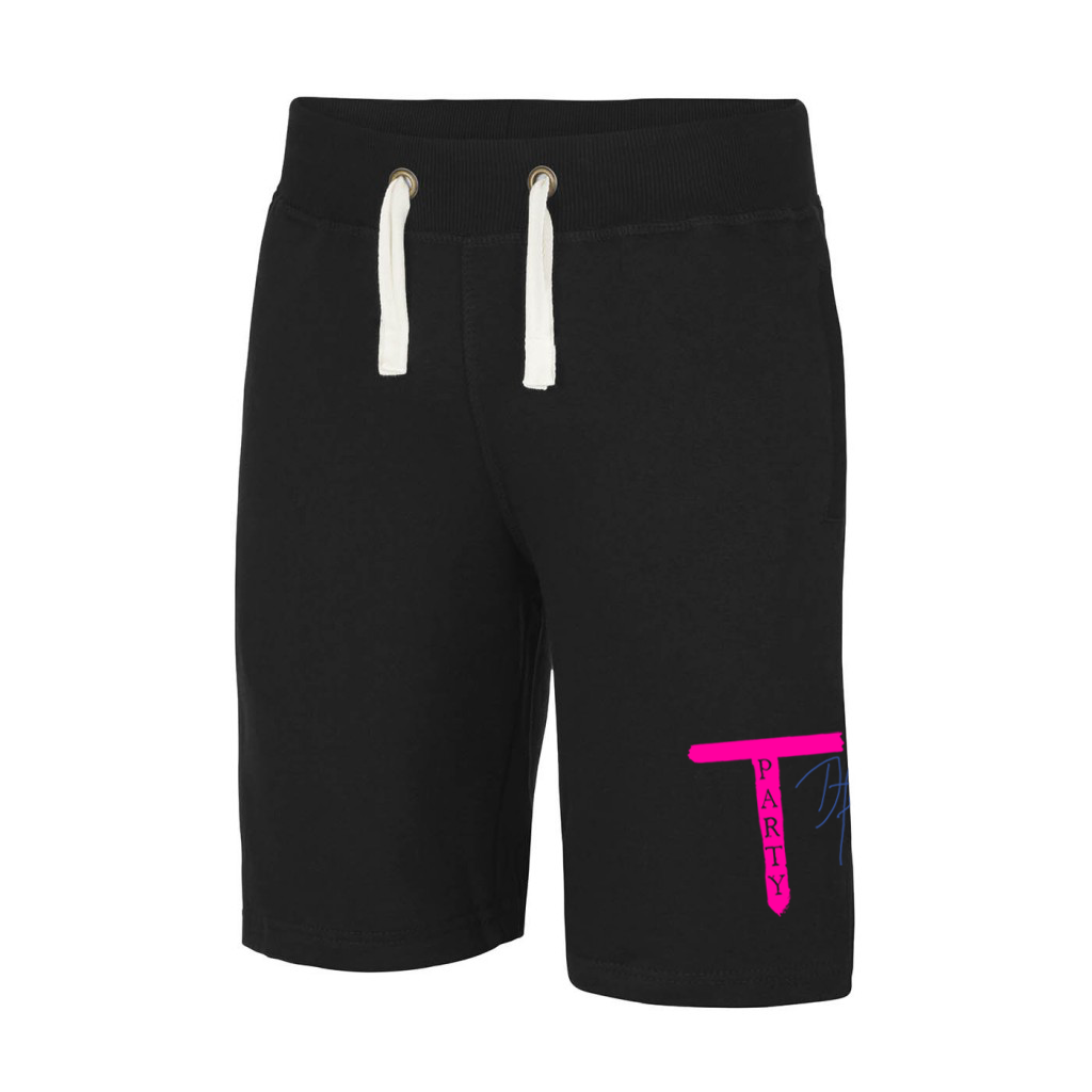 'T-Party' Black Sweat Shorts