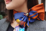 Scarf Set: Blue Mushroom Silk Scarf (90cm x 90cm)  and Blue & Orange Striped Enamel Scarf Ring