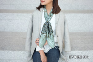 Scarf Set: Green Bug Silk Scarf (90cm x 90cm) and Cross Scarf Ring (Size 15)