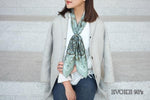 Scarf Set: Green Bug Silk Scarf (90cm x 90cm) and Pocket Scarf (35cm x 35cm)