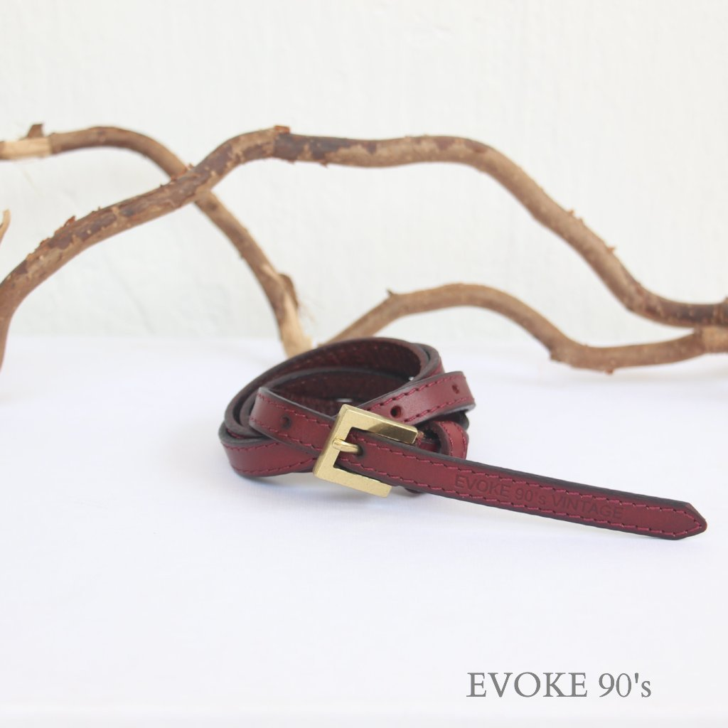 Genuine Leather High-waist Belt (Red Wine) - EVOKE90's