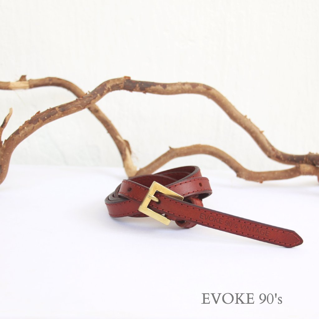 Genuine Leather High-waist Belt (Vintage Brown) - EVOKE90's