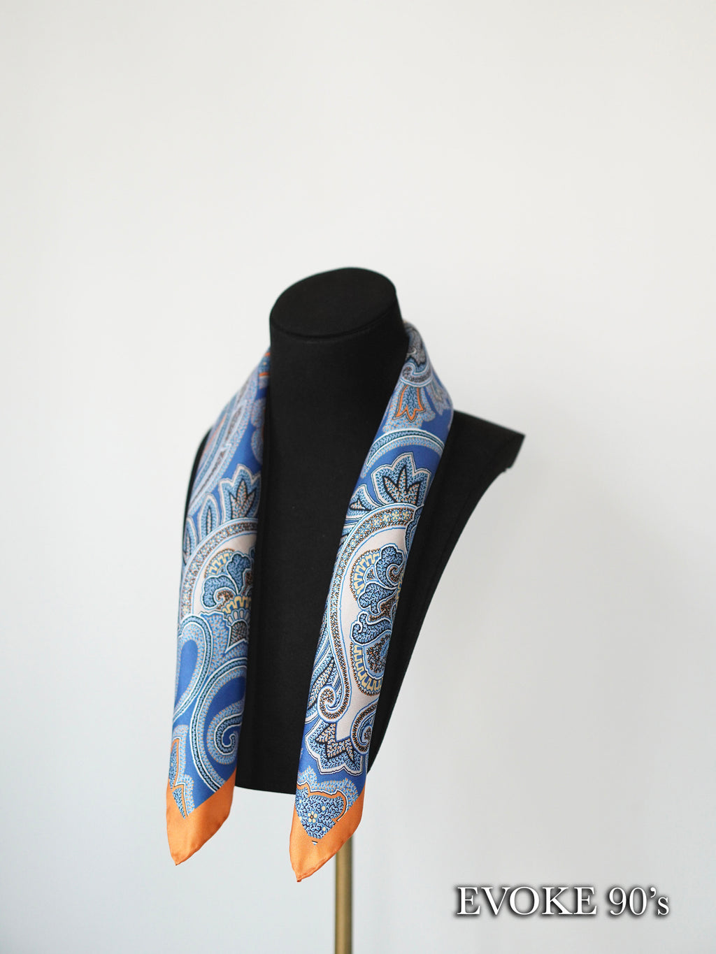 Multi Paisley Blue Orange Silk Scarf (53cmx53cm)