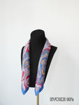 Multi Paisley Blue Red Silk Scarf (53cmx53cm)