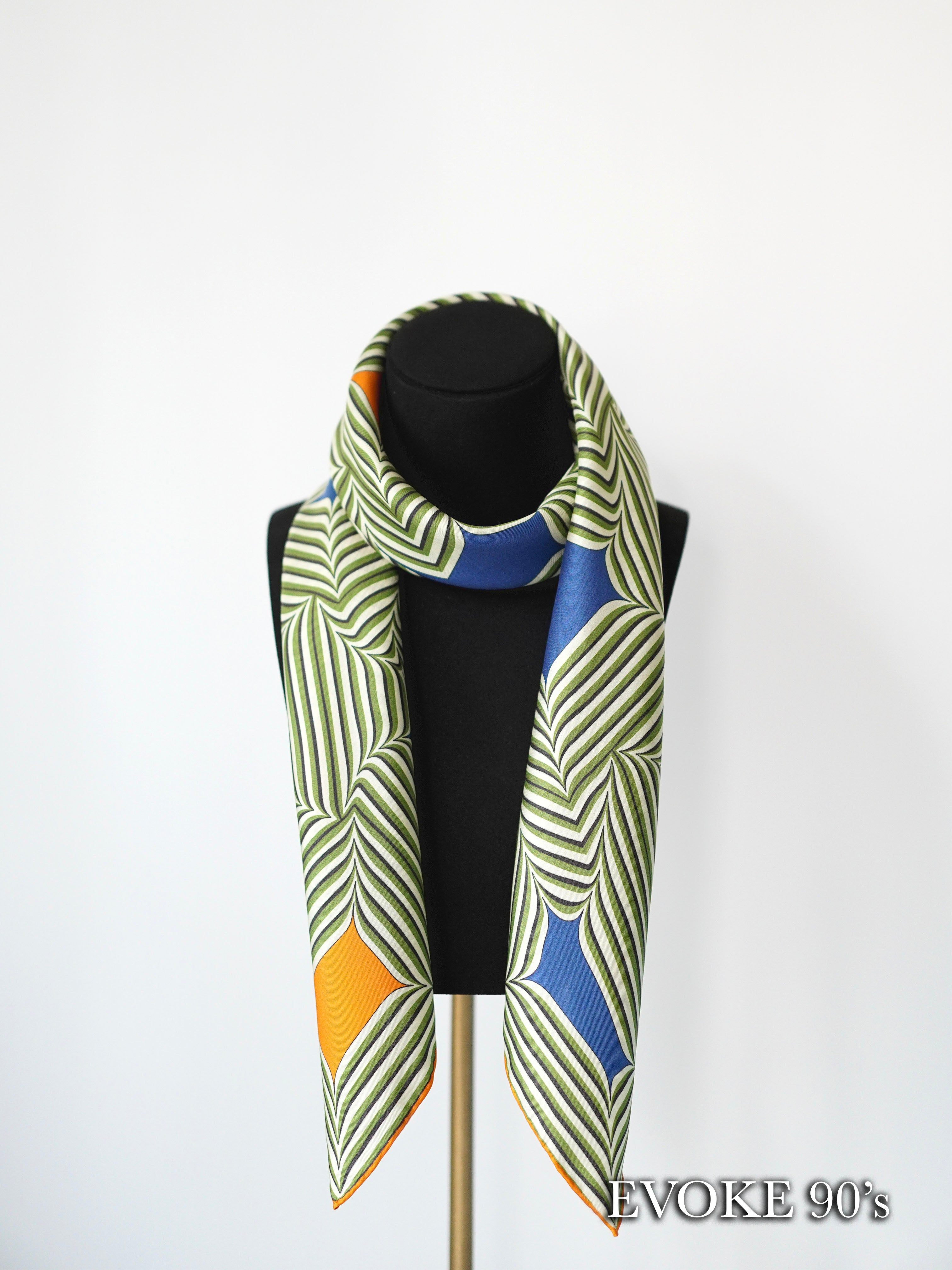 Striped Green Silk Scarf (90cmx90cm)
