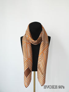 Striped Brown Silk Scarf (90cmx90cm)