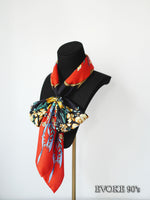 Flower Black Red Silk Scarf (90cmx90cm)