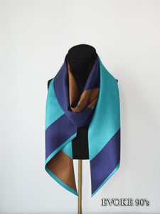 Block Navy Blue Brown Silk Scarf (18cmx200cm)