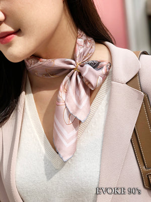 Scarf Set: Pink Magnolia Silk Scarf (53cm x 53cm) and Cross Scarf Ring (Size 6)