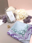 Scarf Set: Purple Magnolia Silk Scarf (53cm x 53cm) and Double Cross Scarf Ring