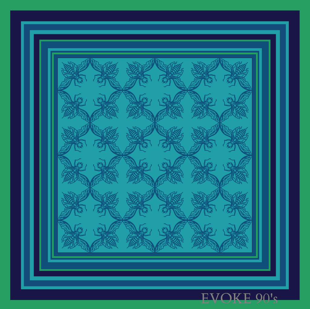 Blue & Green bug Pocket Scarf (35cm) - EVOKE90's