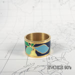 Blue & Green Flower Enamel Scarf Ring (18k Gold plated)
