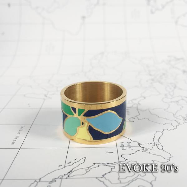 Scarf Set: Blue & White Map Silk Scarf (90cm x 90cm) and Blue & Green Flower Enamel Scarf Ring (18k Gold plated)