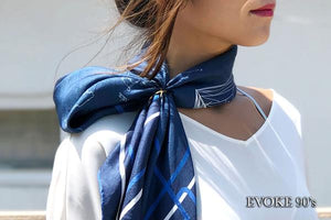 Scarf Set: Blue & White Map Silk Scarf (90cm x 90cm) and Pocket Scarf (35cm x 35cm)