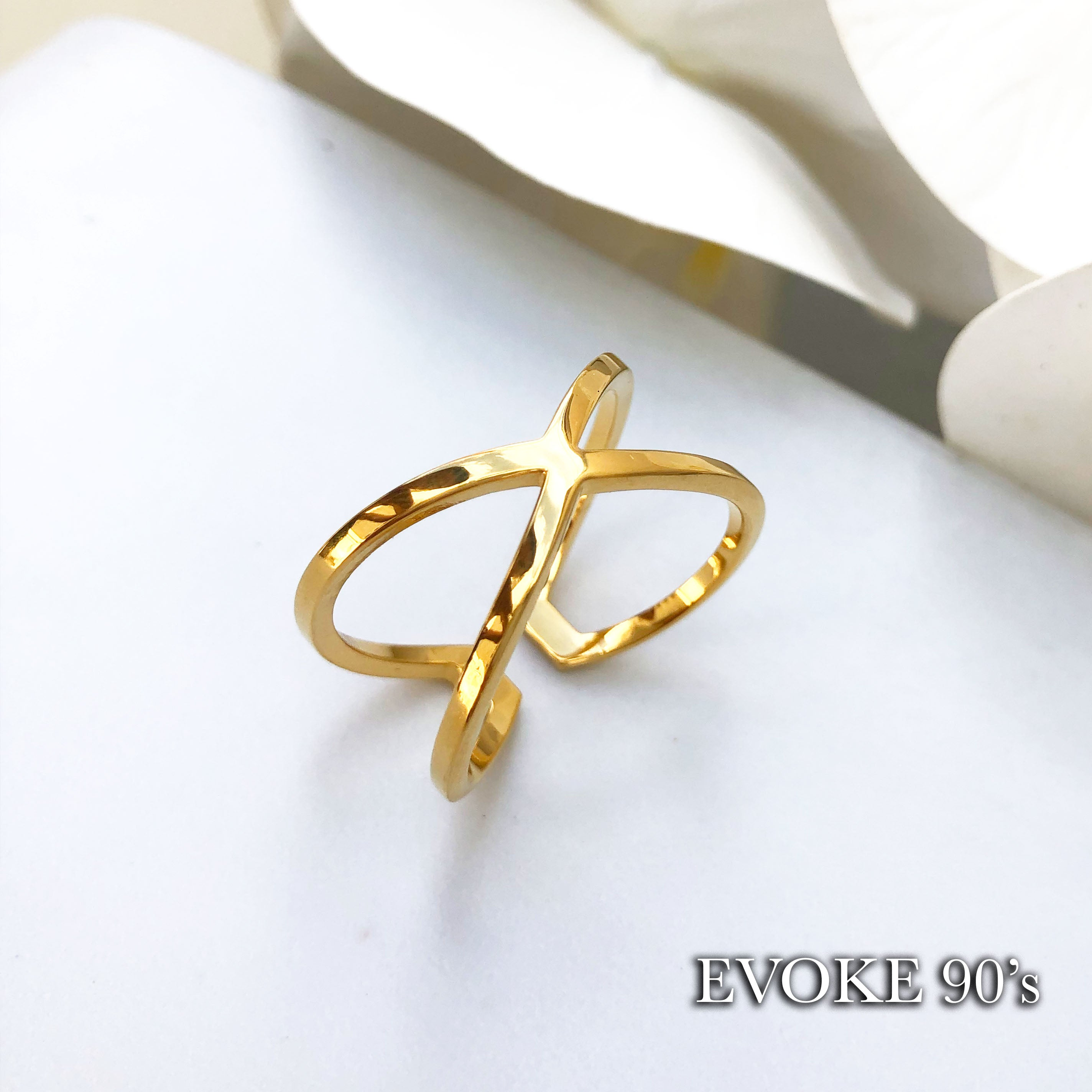 Cross Scarf Ring (18k Gold Plated Over Stainless Steel) Size 15