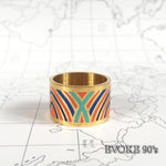 Blue & Orange Striped Enamel Scarf Ring (18k Gold plated)