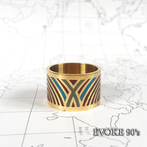 Scarf Set: Blue & Red Map Silk Scarf (90cm x 90cm) and Red & Green Striped Enamel Scarf Ring (18k Gold plated)