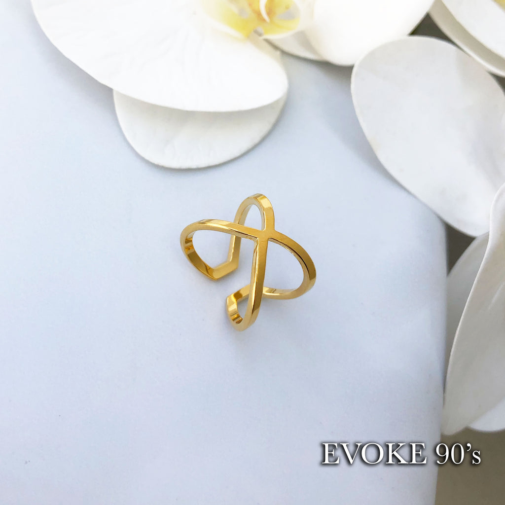 Cross Scarf Ring (18k Gold Plated Over Stainless Steel) Size 6