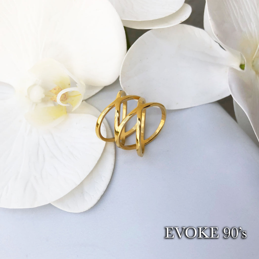 Double Cross Scarf Ring (18k Gold Plated Over Stainless Steel)