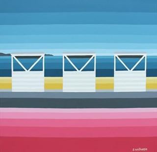 Three White Huts at Weymouth (30x30cm)