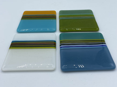 Four David Pascoe Linear Glass Coasters - #Set 2