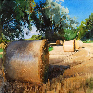 Straw Bales and Willows (Limited Edition Print)