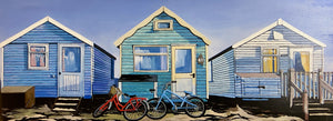 Beach Huts and Bicycles (Canvas Print)