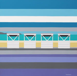 Four White Huts at Weymouth (40x40cm)