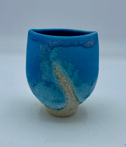 Turquoise Flattened Pot - Very Small