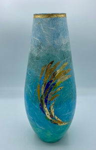 Teardrop Vase - Aqua/Gold Fish