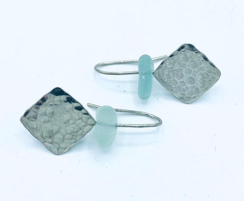 Diamond Seaglass Dangler Earrings - Annie Baddiley