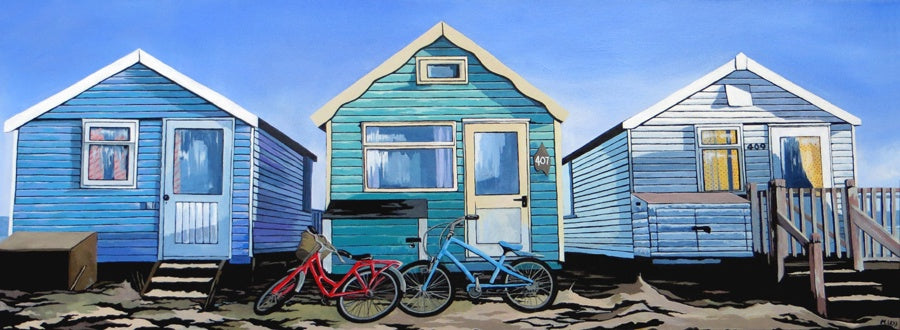 Beach Huts and Bicycles (Limited Edition Print)