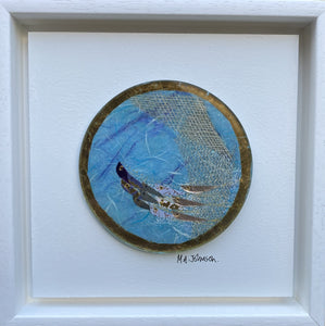 Square Panel (Small) - Round with Fish (Blue)
