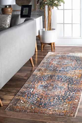 Ehtel Medallion Fringe Rug Runner - Rust (Open Box)