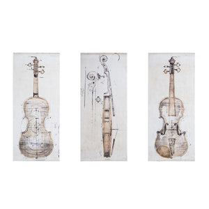 Violin Study set Printed Canvas With Hand Embellishment 3 Piece Set MDH Posh Interiors and Design Home Store