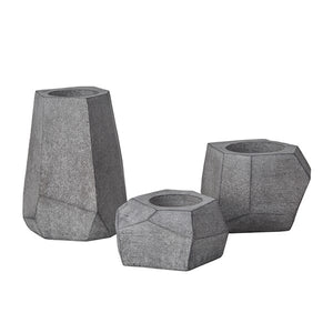Geo Grey Planters- Set of 3