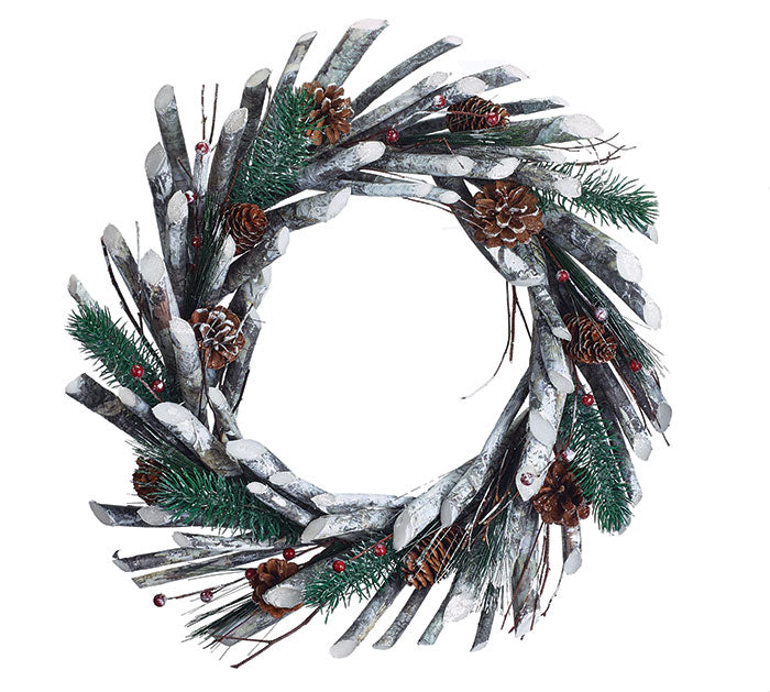 Faux White Birch Wreath