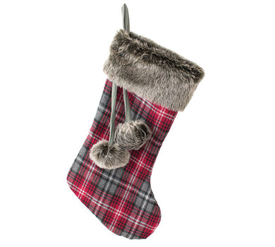Red and Gray Plaid Stocking with Faux Fur Cuff