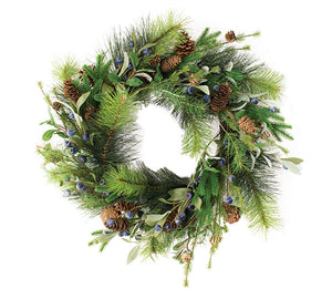Faux Evergreen Mix with Berries and Pinecones