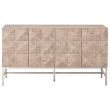 Orient Express Traditions Atlas Media Sideboard in Natural Gray, Brushed Stainless Steel | Solid Acacia, Acacia Veneer 6127.NG/BSTL 842279115180
