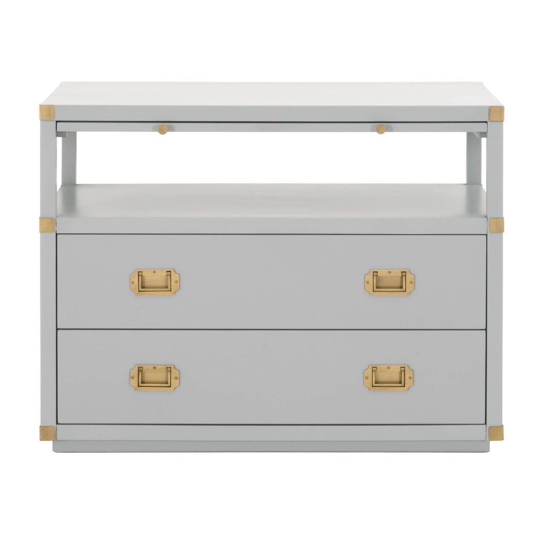 Orient Express Traditions Bradley 2-Drawer Nightstand in Dove Gray, Brushed Gold 6131.DGR/BGLD