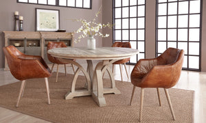 "Carnegie Smoke Gray Elm 60"" Round Dining Table by Orient Express - Brown"