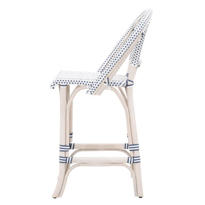 Essentials For Living 6857CS.WWR/DEN-WHT Paris White Wash, Denim and White Counter Height Stool - Set of 2