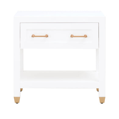 Essentials For Living 6134.WHT/BBRS Traditions Stella Matte White 1-Drawer Square Nightstand
