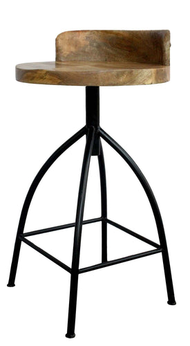 The Urban Port Industrial Style Adjustable Swivel Counter Height Stool with BACKREST