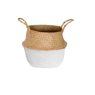 White/Gray Handmade Seagrass Basket
