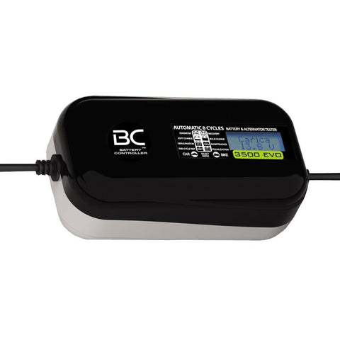 BC 3500 EVO DESIGN, 3.5 Amp / 1 Amp, Caricabatteria e Mantenitore Digitale/LCD, Tester di Batteria e Alternatore per tutte le batterie Auto e Moto 12V Piombo-Acido - BC Battery Italian Official Website